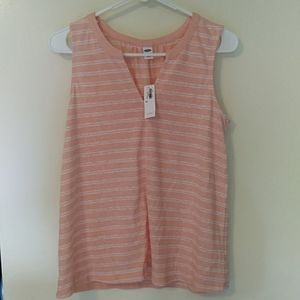 Old Navy relaxed pink and white striped tank
